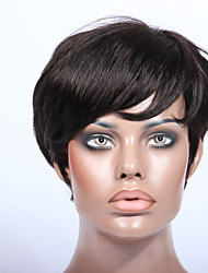 Short Human hair 2# Unprocessed Virgin Brazilian Glueless None Lace Machine Made Human Hair Wigs