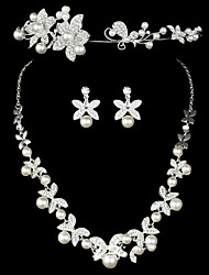Wedding three sets of crown Earrings Necklace Crystal Jewelry Wedding Accessories