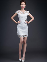 Sheath / Column Wedding Dress - Reception Little White Dress Short / Mini Jewel Lace with Lace