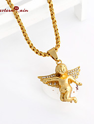 WesternRain fashion jewelry items delicate pendant necklace Gold Angel Necklace Gold Hiphop Chains Men&women