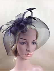 Women Feather/Net Black Vintage Flowers/Birdcage Veils With Wedding/Party Headpiece