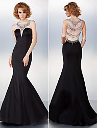 Black Tie Gala Dress - Beautiful Back Trumpet / Mermaid Scoop Sweep / Brush Train Jersey with Beading