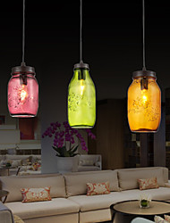 Bottle Design Pendant, 3 Light with Transparent Shade