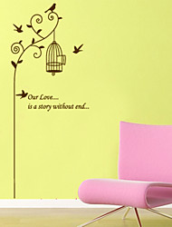 Wall Stickers Wall Decals Style Flying Bird And Bird Cage PVC Wall Stickers