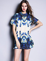 Summer Europe Fashion Women Plus Size Chiffon Loose Print Short Sleeve Blouse Shirt Tops