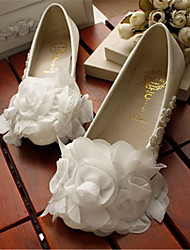 Women's Shoes Leather Flat Heel Round Toe Flats Wedding/Party & Evening White
