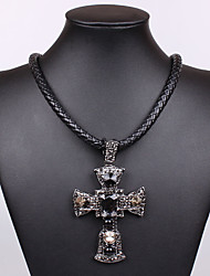 Europe and the United States punk style restoring ancient ways is 0309 # set auger cross match leather cord necklace