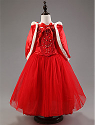 A-line Ankle-length Flower Girl Dress - Satin / Tulle Short Sleeve Jewel with
