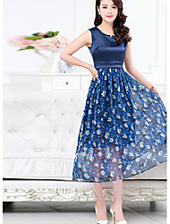 Women's Going out Sophisticated Plus Size / Chiffon Dress,Print Round Neck Midi Sleeveless Blue Polyester Summer