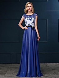 Formal Evening Dress Sheath / Column Bateau Floor-length Satin Chiffon with Lace