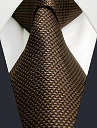U27 Shlax&Wing Mens Tie Solid Color Dark Brown Chocolate Necktie Silk Classic