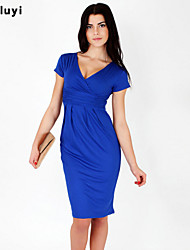 Women's Casual/Daily Sexy Loose Dress,Solid Round Neck Above Knee Short Sleeve Blue / Red / Black Cotton All Seasons