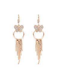 18k Gold Butterfly Circle Tassel Dropline Dangle Earrings