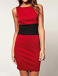 gagné patchwork robes rouges de la femme, sexy / moulante / occasionnels / fête / travaux manches ronde