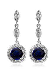 новый синий кристалл серьги мода высокого качества позолоченный кулон девушек свадебные украшения