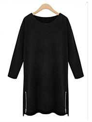 vintage / casual / partido / o trabalho das mulheres / mais tamanhos micro-elástica manga ¾ mini vestido (acrílico)