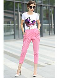 Women's Patchwork Multi-color T-shirt , Round Neck Short Sleeve Sequins