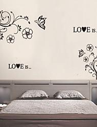 mur autocollants mur style décalcomanies de fleurs noir papillon vigne mur PVC autocollants
