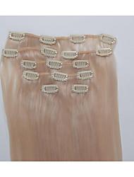 15 pulgadas 7pcs / clip de 70g en extensiones de cabello humano brasileño recto sedoso # 27 Strawberry Blonde