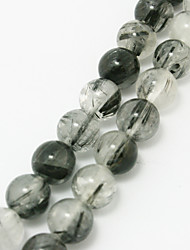 Beadia 39Cm/Str (Approx 40Pcs) Natural Black Rutilated Quartz Beads 10mm Round Stone Loose Beads DIY Accessories