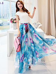 Women's Vintage/Beach/Casual/Print/Cute/Party/Maxi Maxi Skirts , Polyester