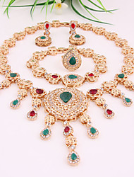 Luxury Weeding Zircon 18k Gold Plated (Including Necklace, Earring, Bracelet, Ring) Jewelry Sets