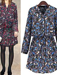 Women's Print Blue / Red Dresses , Bodycon V-Neck Long Sleeve
