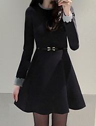 Women's Vintage/Casual/Cute/Party/Work Micro-elastic Long Sleeve Above Knee Dress (Cotton)