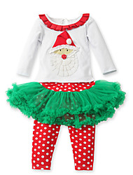 Girl's Cotton/Polyester Christmas Style Sweet Long Sleeve Clothing Set