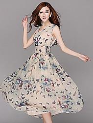 Women's Beach/Casual/Print V-Neck Sleeveless Dresses (Chiffon)