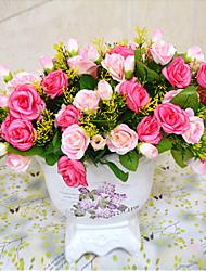 Rama Poliéster / Plástico Rosas Flor de Mesa Flores Artificiales 20 cm
