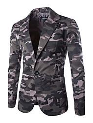 Masculino Blazer Casual camuflagem Manga Comprida Outros Verde / Cinza