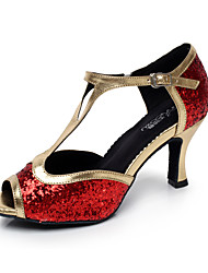 Non Customizable Women's Dance Shoes Latin/Salsa Leatherette Flared Heel Black/Red/Silver