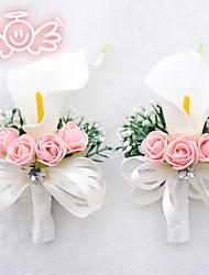 Свадебные цветы В свободной форме Бутоньерки Свадьба Полиэфир Атлас Поролон Около 9 см