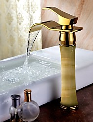 Shengbaier Waterfall Bathroom Sink Faucet Golden Royal Design Brass Finish (Tall)