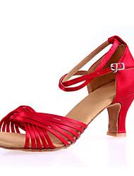 Women's Dance Shoes Sandals Satin Cuban Heel Black/Red