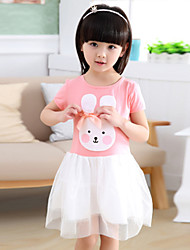 Girl's Chiffon/Cotton Sweet Rabbit Round Collar Short Sleeve Dress