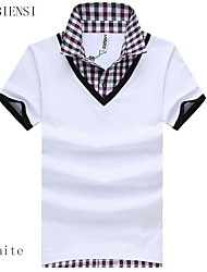 2015 summer new casual Plaid collar Lapel two piece Mens T-shirt false two