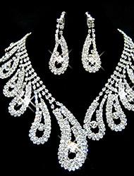 Meirui Damenmode glänzenden Schmuck eingelegten Strass Ohrringe und Halskette Set