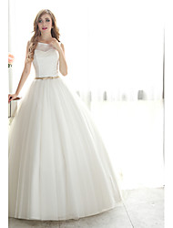 Ball Gown Wedding Dress Floor-length Bateau Lace / Organza with Sash / Ribbon