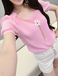 Women's Solid Blue/Pink/Red/White/Black/Yellow Blouse Short Sleeve Ruffle