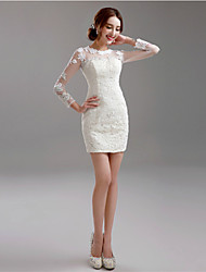Sheath / Column Illusion Neckline Short / Mini Lace Wedding Dress with Appliques by AMGAM