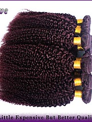 "4Pcs/Lot 10""-26"" Brazilian Kinky Curly Virgin Hair Burgundy Pure Color Remy Human Hair Extensions Queen Hair Products"