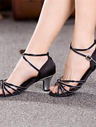 Women's Dance Shoes Latin Leatherette Chunky Heel Black/Silver