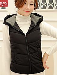 Veste Aux femmes Sans Manches Vintage/Décontracté/Soirée Soie/Coton/Autres/Polyester Moyen