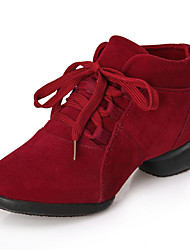 Modern Women's Dance Shoes Sneakers Leather Low Heel Black/Red/Grey