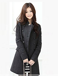 Women's Solid Black/Brown/Gray Coat , Casual/Work Long Sleeve Polyester
