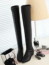 Zapatos de mujer - Tacón Bajo - Punta Redonda / Botas a la Moda - Botas - Vestido / Casual - Semicuero - Negro