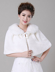Fur Wraps / Wedding  Wraps Capelets Sleeveless Lace / Faux Fur White Wedding Feathers / fur