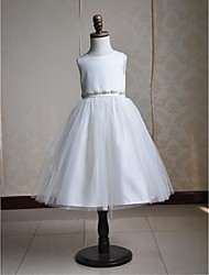 Ball Gown Tea-length Flower Girl Dress - Satin Tulle Jewel with Sash / Ribbon